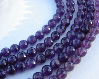15 natural 6 mm with hole 1 mm purple amethyst beads