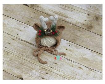 Crochet Reindeer Hat, Crochet Reindeer Deer Bonnet, Crochet Deer Hat, Baby Deer Bonnet, Reindeer Hat, Reindeer Hat