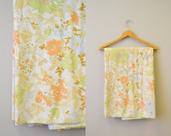 1970s Autumnal Floral Sheet Lot