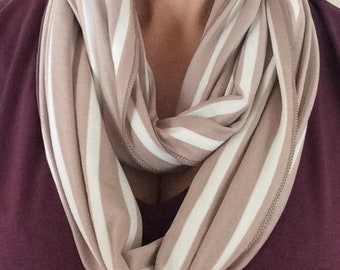 Stripe viscose jersey infinity scarf in Mink and Ivory