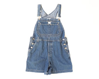 Calvin Klein Overalls 1990s Shortalls 90s Jean Shorts Blue Denim Jumper Romper Bibs Grunge Aesthetic Workwear Baggy Small Medium