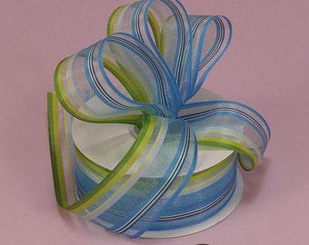 "Beautiful 1-1/2""W x 5YDS Sheer Ribbon Seashore Blue & Green Stripes"