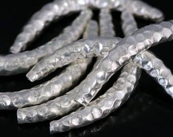 KS-003 thai karen hill tribe silver 2 hammered curved tube bead