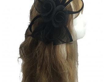 Stunning Black Sinamay Bow and Feathers Hair Fascinator With Headband n Clip