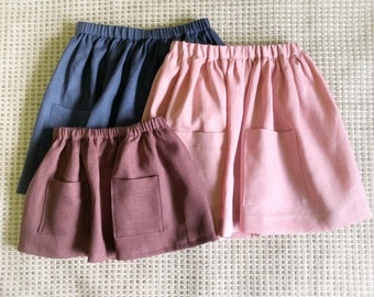 Linen baby skirt / Linen girls skirt / Linen baby clothes / girls skirt pockets  / skirt with pockets / girls clothes