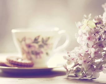 Tea Cup and Flowers Photo, Delicate Floral Photo, Flower Photo, Pink Hydrangea Photo, Art for Mum, Floral Tea Cup Photo, Vintage Tea Cup