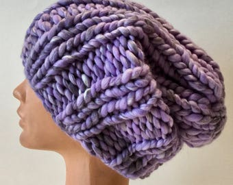 Lilac chunky knit hat Womens slouch beanie Oversized slouch hat Light violet merino wool beanie hat Spring hand knitted hat Chunky hat