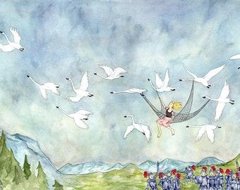 The Princess and the 12 Swans giclée print