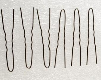 Set of 6 Vintage Black Hair Pins Bobby Pins FOrks Hair Accessories DIY