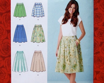 Simplicity Sewing Pattern 1369 Gathered Skirts, 3 Lengths, Overlay, Miss Sizes 6 8 10 12 14, Modern Fashion Sportswear, Summer Fall, UNCUT