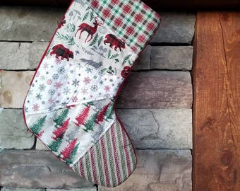 Red and Green Patchwork Christmas Stocking OOAK Stocking Red Green Woodland Christmas Stocking Quilted Stocking #2