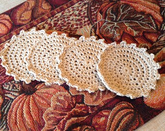 Crochet Coasters set of 4 Neutral Spirals