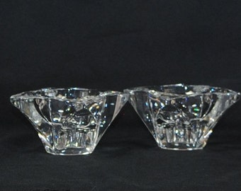 Vintage Clear Glass Candle Holders, Heavy Glass Taper Holders, Flower Shaped,  Glass Taper Holder, Glass Candle Holder, Heavy Candle Holder