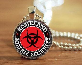Zombie Security Pendant, Zombie Jewelry, Gift for Her, Gift for Him, Zombie Apocalypse Jewelry, Homeland Zombie Security