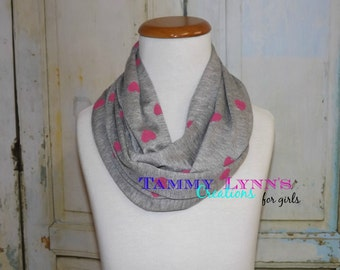 NEW!! Girls Heather Gray with Pink Hearts Light weight Jersey Knit Girl's/kids Accessories