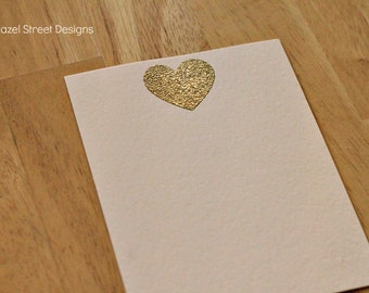Gold and Glitter Heart on Pale Pink Card