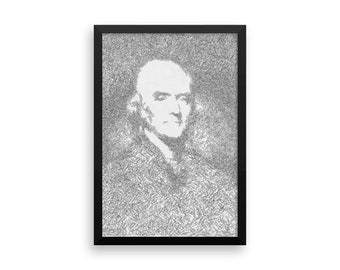 Thomas Jefferson image formed from signatures of Declaration signers, framed poster