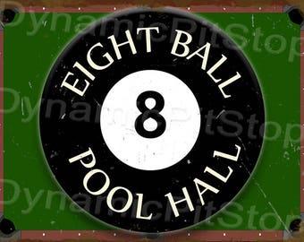 40x30cm 8 Ball Rustic Tin Sign