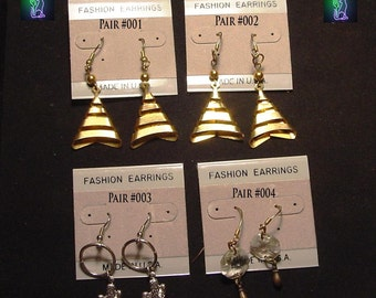 Handcrafted Brass or Pewter Novelty Dangle earrings
