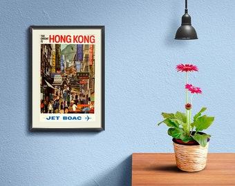 HONGKONG TRAVEL POSTER: Vintage Travel Poster Fly To Hong Kong  Art Print