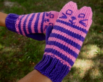 Knit Cat Mittens Pink and Purple Striped Handmade Knit Cat Ears Mittens - Pink Knit Kitty Mittens - Vegan Animal Mittens - Vegan Cat Mittens