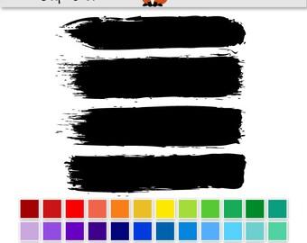 Brush Stroke Digital Clipart Clip Art - INSTANT DOWNLOAD - 36 colours - rainbow painting art paintbrush paint