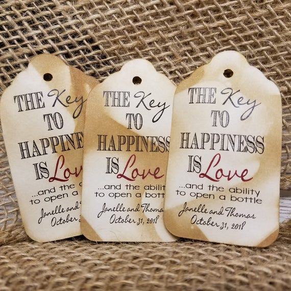 Key to Happiness is Love and the ability open a bottle opener favor tag MEDIUM Tags Personalize with names and date
