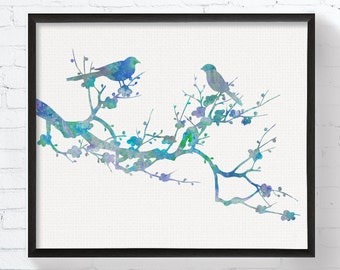Love Birds On Branch - Bird Art - Bird Print - Bird Wall Art - Bird Wall Decor - Bird Watercolor, Wedding Gift, Anniversary Gift, Blue Birds