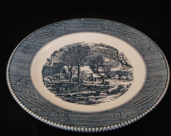 "Vintage ""The Old Grist Mill"" Royal China by Jeannette, Currier & Ives 9"" Blue Dinner Plates (set of 2 plates)"