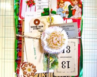 Christmas Scrapbook Kit,  Vintage Ephemera,  Smash Book, Junk Journal, Remains of the Day, Scrap Paper, Art Embellishment Kit