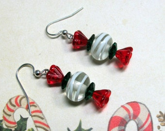 Christmas Candy Earrings, Candy Earrings, Red Earrings, Christmas Earrings, Holiday Earrings, Christmas Jewelry, Holiday Jewelry, Dangle