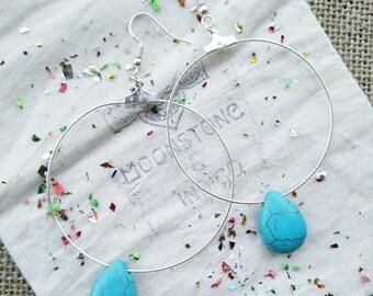 Turquoise Hoop Earrings -Silver Hoop Earrings - Boho Hoop Earrings - Turquoise Jewelry - Hoop earrings - Turquoise Hoops - Silver Hoops