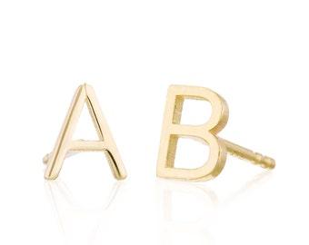 Initial Earrings, Solid 14K Gold Initial Studs, Gold Letter Earrings, Personalized Earrings, Monogram Earrings, Ships in 3-5 business days