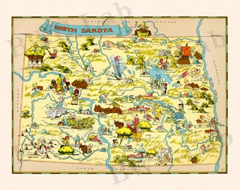 Pictorial Map of North Dakota - colorful fun illustration of vintage state map (Color 1935)