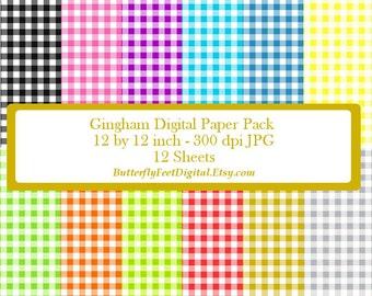Gingham Digital Paper, Scrapbooking, Card Making, Digital Paper Pack, 12 x 12 inch, Instant Download