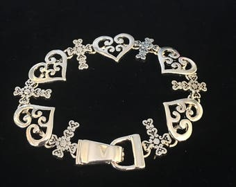 Sterling Silver Hearts And Crosses Bracelet