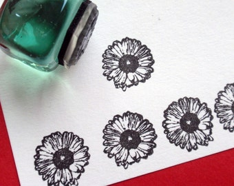 Tiny Gerbera Daisy flower Rubber Stamp  - Handmade by BlossomStamps