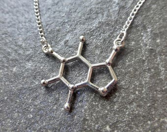 Silver Caffeine Molecule Pendant Necklace With Silver Plated, Stainless Steel OR 925 Sterling Silver Chain - Boho - Christmas Gift