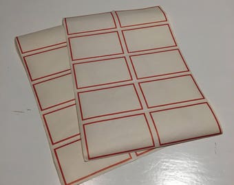Vintage 2 sheets of red gummed labels