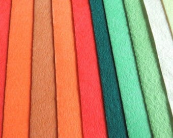 Brown red green felt 10 colors