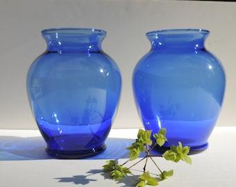 Vintage Cobalt Blue Glass Vase Set of 2 Large Ginger Vases Flower Vase Home Decor
