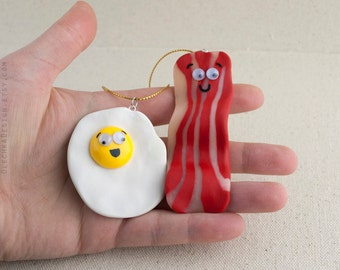 Bacon and Egg Christmas Ornament 2pc Set, Hand Made, Polymer Clay, Christmas Tree Ornaments, Cute Stocking Stuffer for Bacon Lovers