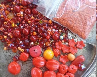Red Orange glass bead destash