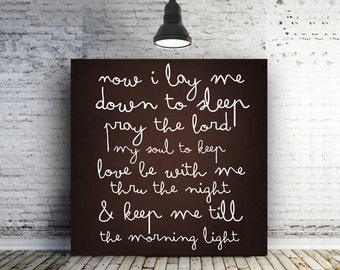 Baby sleeping sign Bedtime Prayer Sign Now I lay me down to sleep pray the Lord my soul to keep Minimalist Nursery Decor baby gift New Baby
