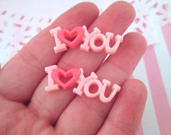 """Pink Resin """"I Love You"""" Valentine's Cabochons, Pick Your Amount, #294"""