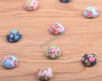 Random Color Fabric Buttons, Covered Buttons, Classic button, Flat Back Buttons
