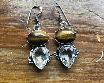 White topaz earrings, topaz earrings, topaz, white topaz jewelry, topaz jewellery, topaz jewelry, tigers eye earrings, tigers eye