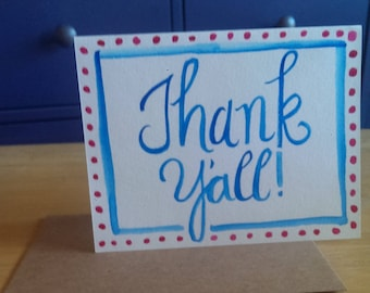 Thank Y'all Watercolor Greeting Card
