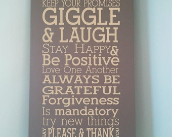 Beautiful 10x24 wooden board sign with quote Always tell the truth...