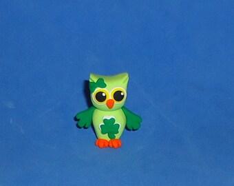 Polymer Clay Green St Patricks Day Shamrock Owl